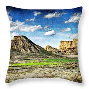 Bardenas Desert Panorama 4 - Vintage Version Throw Pillow