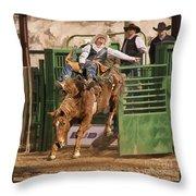 Bareback Riding At The Wickenburg Senior Pro Rodeo Throw Pillow