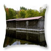Barge House On The Erie Canal Throw Pillow