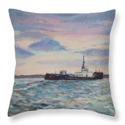 Barge On Port Phillip Bay Throw Pillow