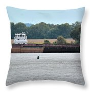 Barge On Tennessee River At Shiloh National Military Park Throw Pillow