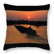 Barge On The Ohio. Throw Pillow