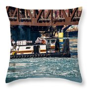 Barge Work With The Tug Tanner Throw Pillow