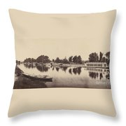 Barges At Oxford Throw Pillow