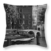 Barges By The Bridge Throw Pillow