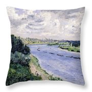 Barges On The Seine Throw Pillow