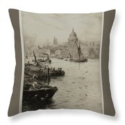 Barges On The South Bank Throw Pillow