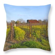 Barn Among The Wild Mustard Throw Pillow
