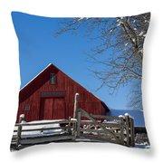 Barn And Blue Sky Throw Pillow