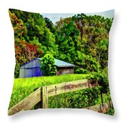 Barn And Fence In Tall Grass Throw Pillow