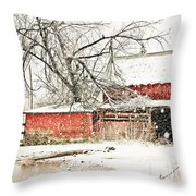 Barn And Pond Throw Pillow