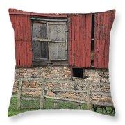 Barn And Sheep Throw Pillow