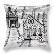 Barn And Sheep Throw Pillow