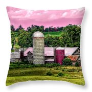 Barn And Silo With Infrared Touch Of Pink Effect Throw Pillow