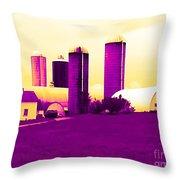 Barn And Silos Amertrine Effect Throw Pillow