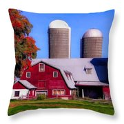 Barn And Silos Hawaiian Chapel Effect Throw Pillow
