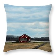 Barn And Split Rail Fence Throw Pillow