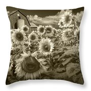 Barn And Sunflowers In Sepia Tone Throw Pillow