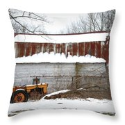 Barn And Tractor Throw Pillow