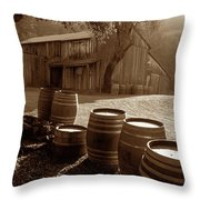 Barn And Wine Barrels 2 Throw Pillow by Kathy Yates