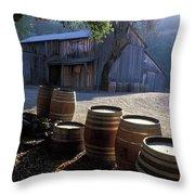 Barn And Wine Barrels Throw Pillow