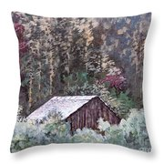 Barn At Cades Cove Throw Pillow