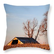 Barn At Sunrise Throw Pillow