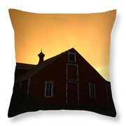 Barn At Sunset Throw Pillow