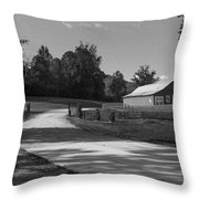 Barn At Yonah Mountain In Black And White 1 Throw Pillow