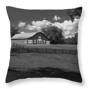Barn At Yonah Mountain In Black And White 4 Throw Pillow