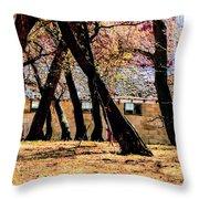 Barn Behind Trees Throw Pillow