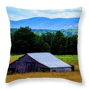 Barn Below Trees And Mountains Throw Pillow