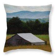 Barn Below Trees And Mountains In Artistic Version Throw Pillow