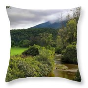 Barn By The Stream In Vermont Throw Pillow