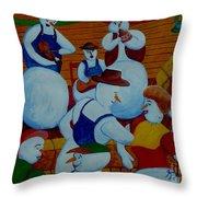 Barn Dancing Snowmen Throw Pillow