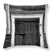 Barn Door And Windows Bw Throw Pillow