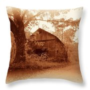 Barn Hocking Co Ohio Sepia Throw Pillow