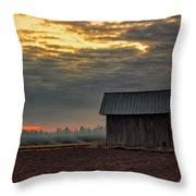 Barn House On The Burning Field Throw Pillow