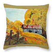 Barn In Autumn Throw Pillow