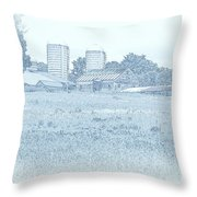 Barn In Blue Throw Pillow