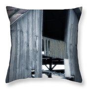 Barn In Blue Throw Pillow