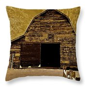 Barn In Sepia Throw Pillow