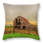 Barn In The Cloudy Sky Throw Pillow