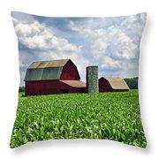 Barn In The Corn Throw Pillow