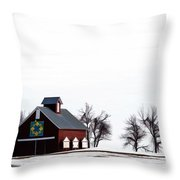 Barn In The Snow Throw Pillow