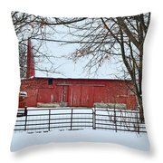 Barn In The Winter Throw Pillow