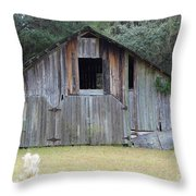 Barn In The Woods Throw Pillow