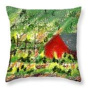 Barn In Vineyard Throw Pillow