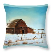 Barn In Winter Throw Pillow