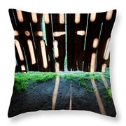 Barn Interior Shadows Throw Pillow